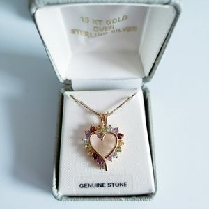 18KT Gold Over Sterling Silver Gen.Stone Necklace
